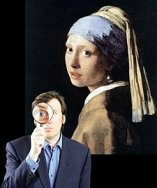 Photo of Andrew Graham Dixon with magnifying glass, behind him a detail from Vermeer's painting 'Girl with a pearl earring'