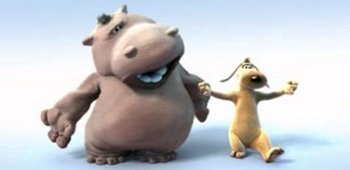 Hippo and dog dancing, screenshot from new animation by Pierre Coffin