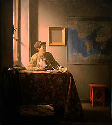Painting by Jonathan Janson in the style of Vermeer but girl holds a cell phone