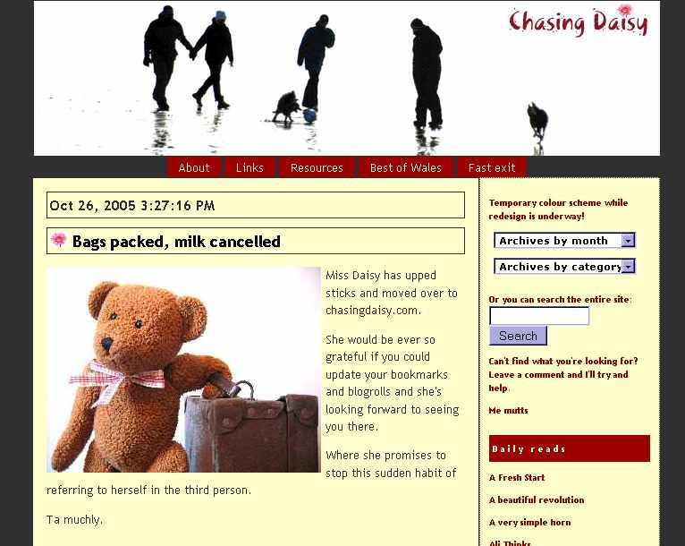 Screenshot of the chasingdaisy typepad blog, October 2005