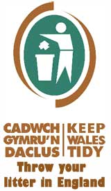 Figure throwing item into waste bin, caption reads Keep Wales Tidy, throw your litter in England.